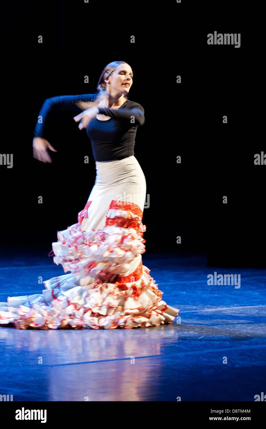 Flamenco dancer, Yjastros Dance Company, Rodey Theatre, Albuquerque, New Mexico USA - Stock Image