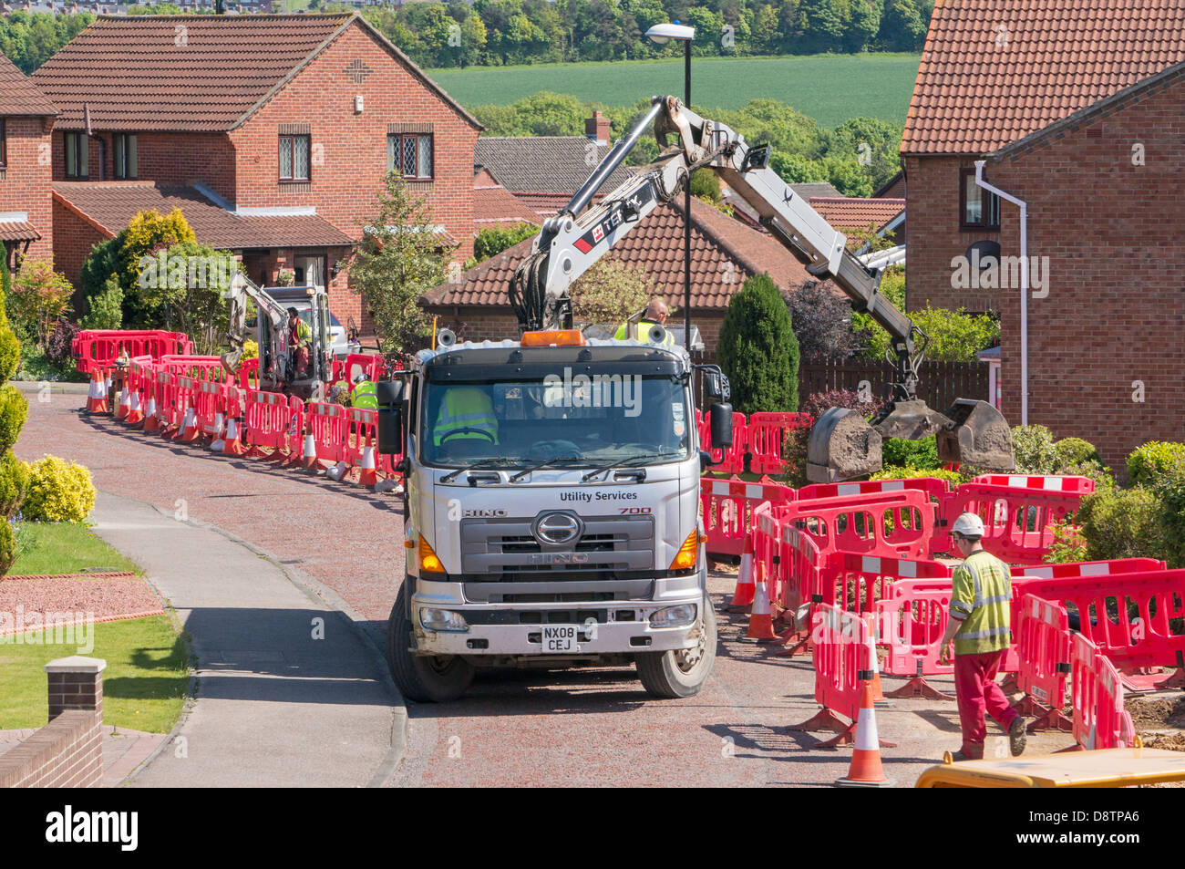 Electrical Cables Uk Stock Photos Replace Wiring House Workmen Replacing Defective Within A Housing Estate Image