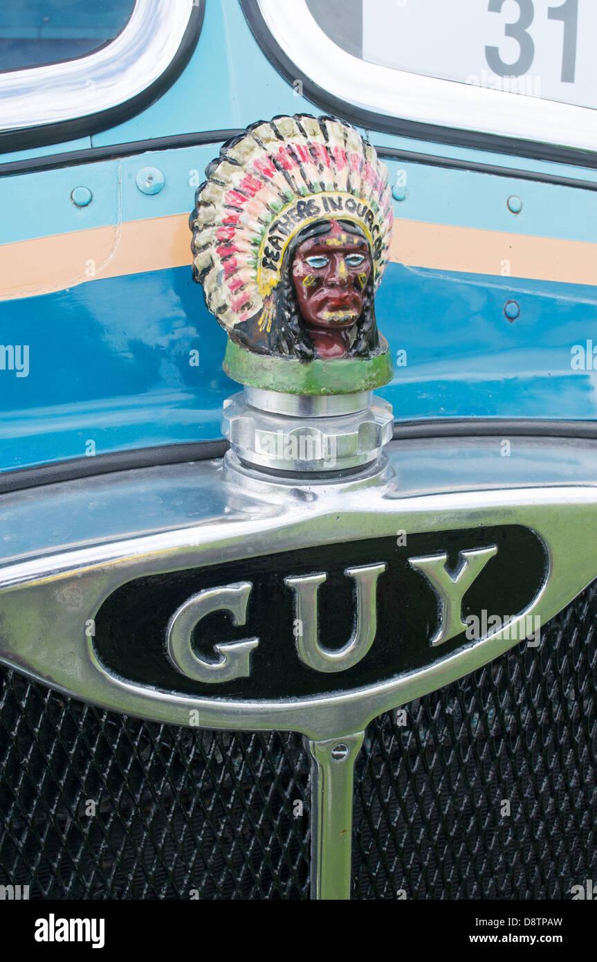 Bonnet or hood badge or insignia or radiator cap Guy - Stock Image