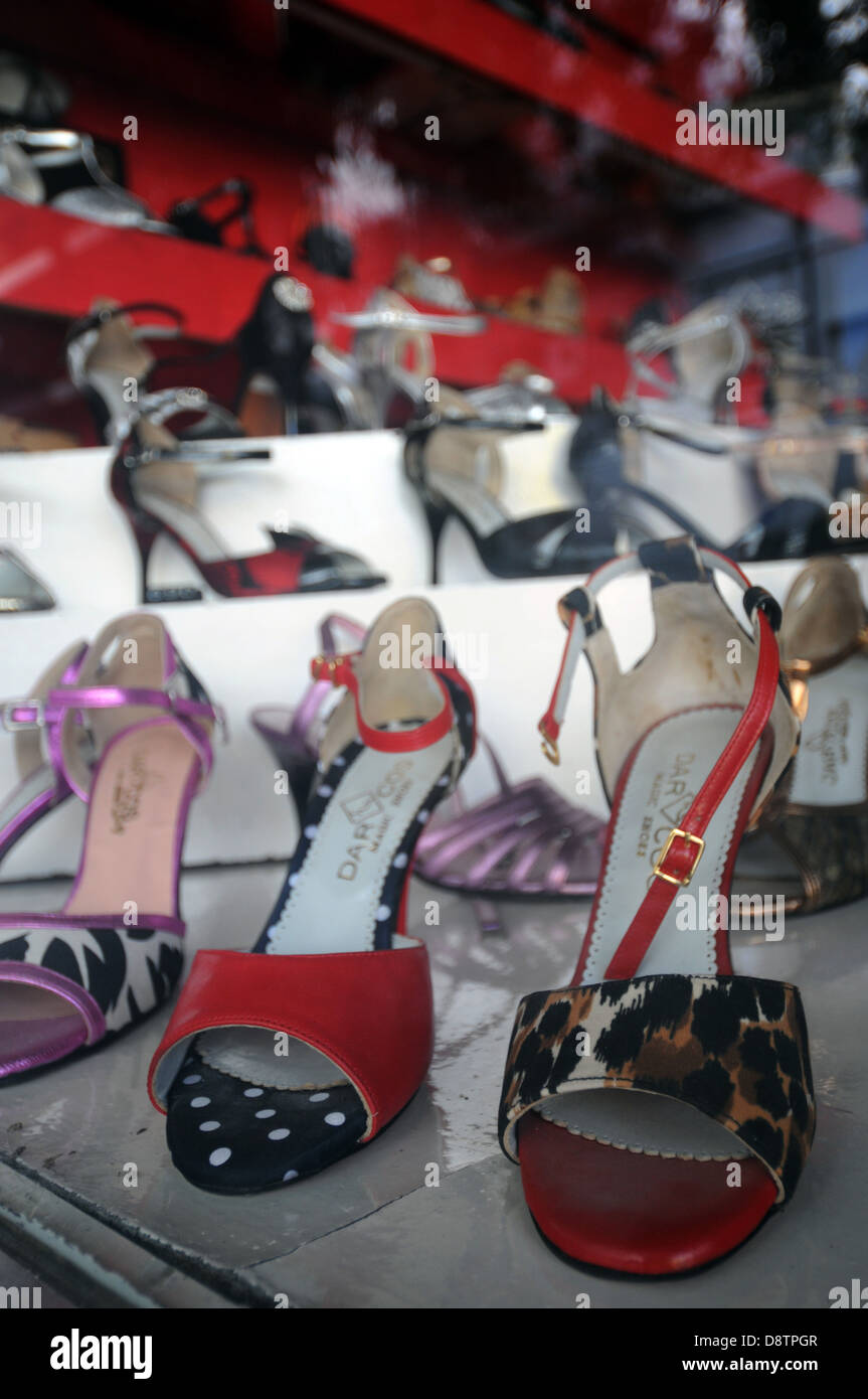 Tango shoes for sale in shop window at Darco Shoes, Belgrano, Buenos Aires, Argentina. No PR - Stock Image