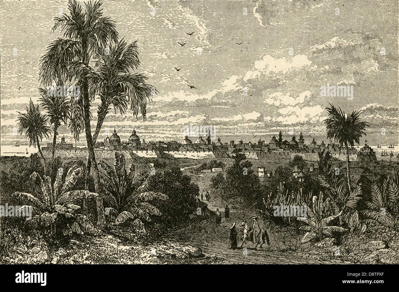 Antique circa 1880s engraving, Veracruz, Mexico. - Stock Image