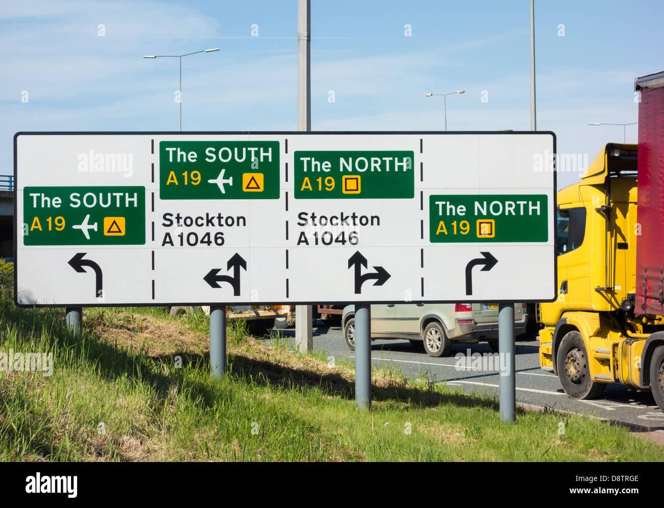 North, South road sign at Portrack roundabout, Stockton on Tees, England, UK - Stock Image