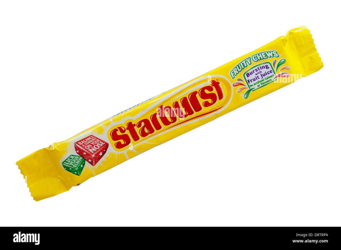 A packet of Starburst fruit chews sweets on a white background - Stock Image