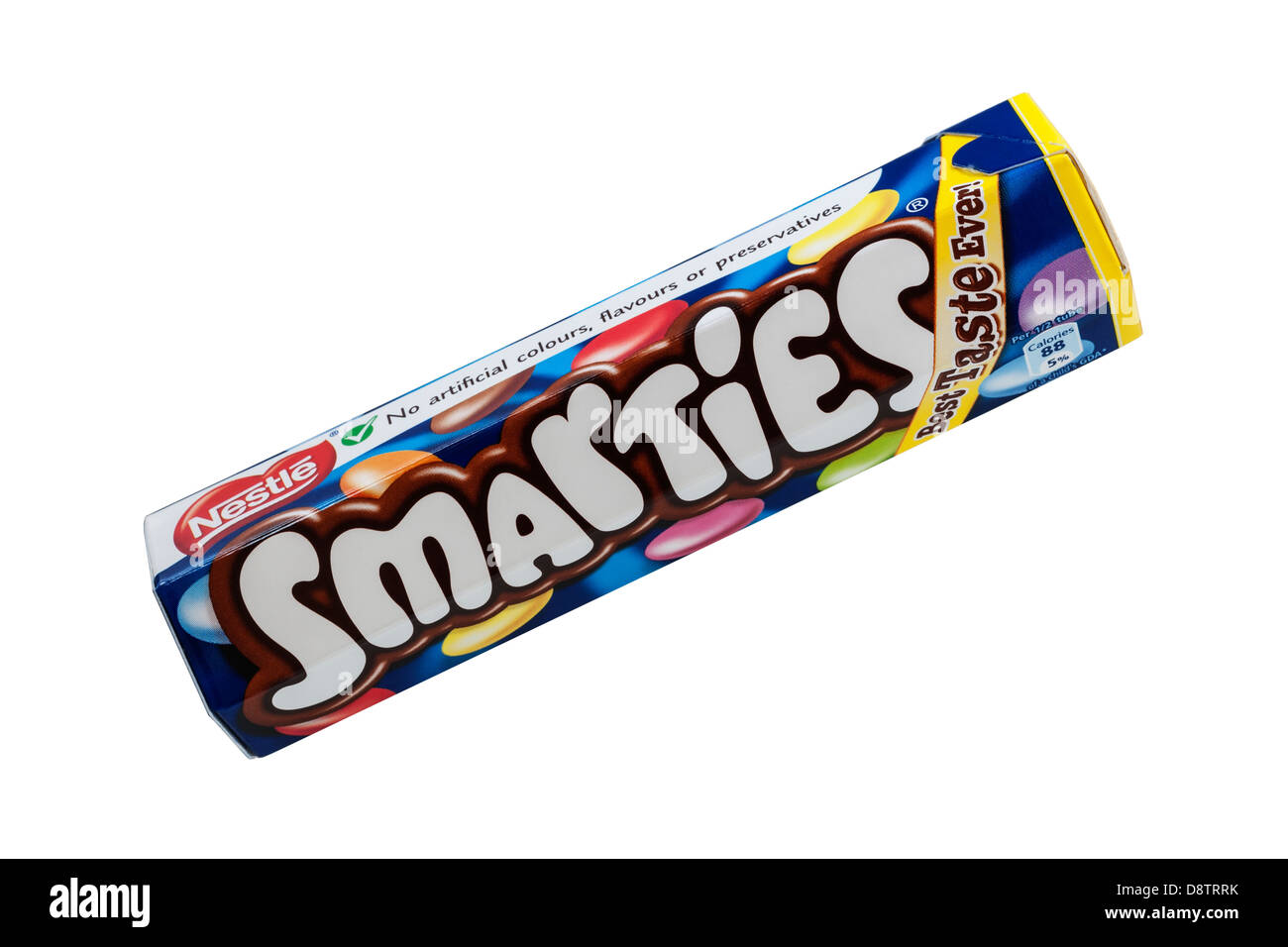 A tube of Nestle smarties on a white background - Stock Image