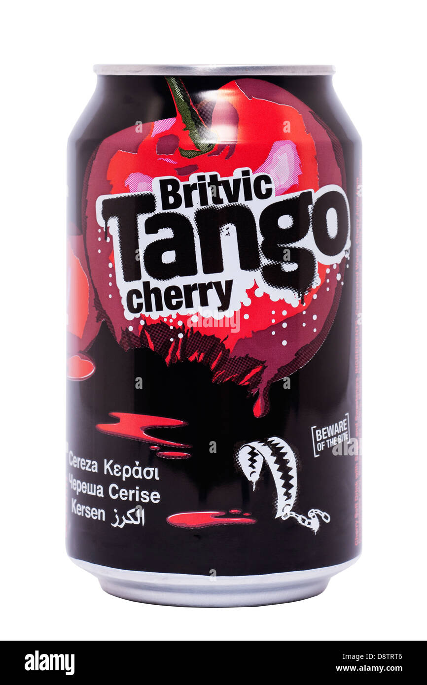 A can of Britvic Tango cherry fizzy drink on a white background - Stock Image