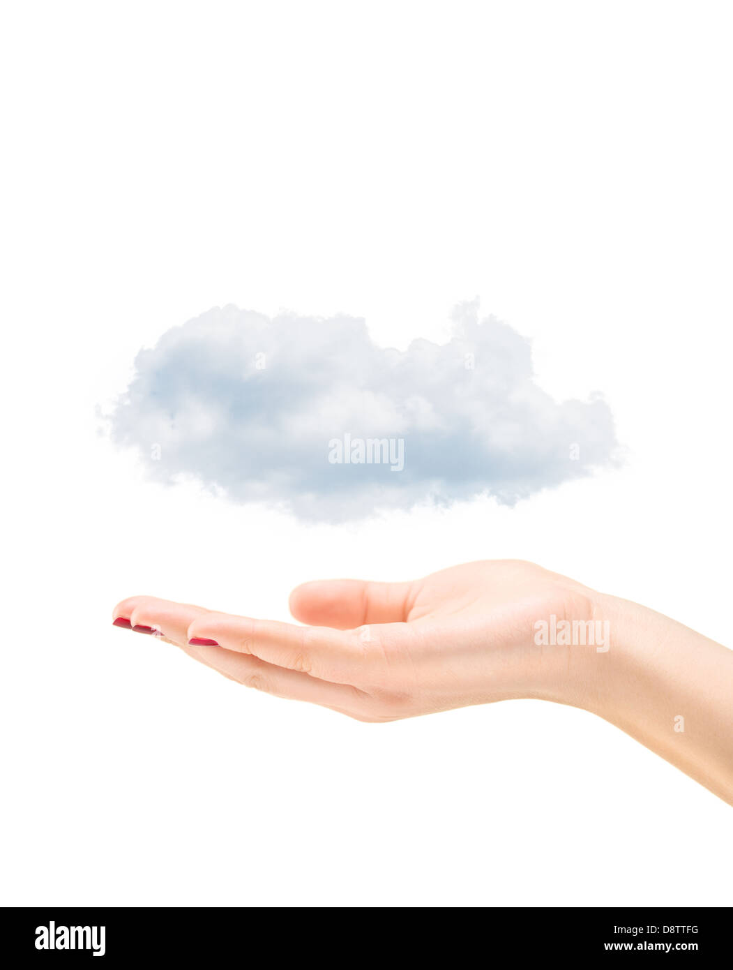 Female hand holding clouds, isolated on white background - Stock Image