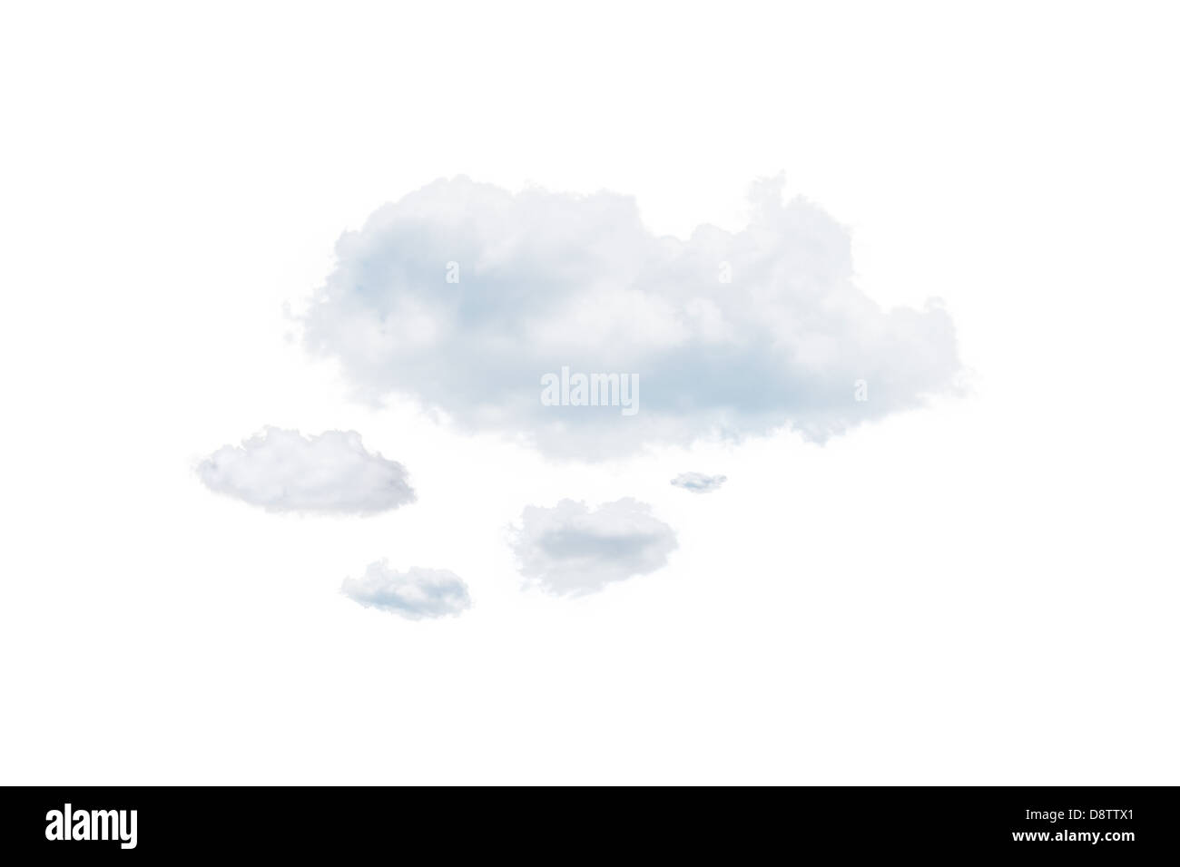 Shot of clouds, isolated on white background - Stock Image