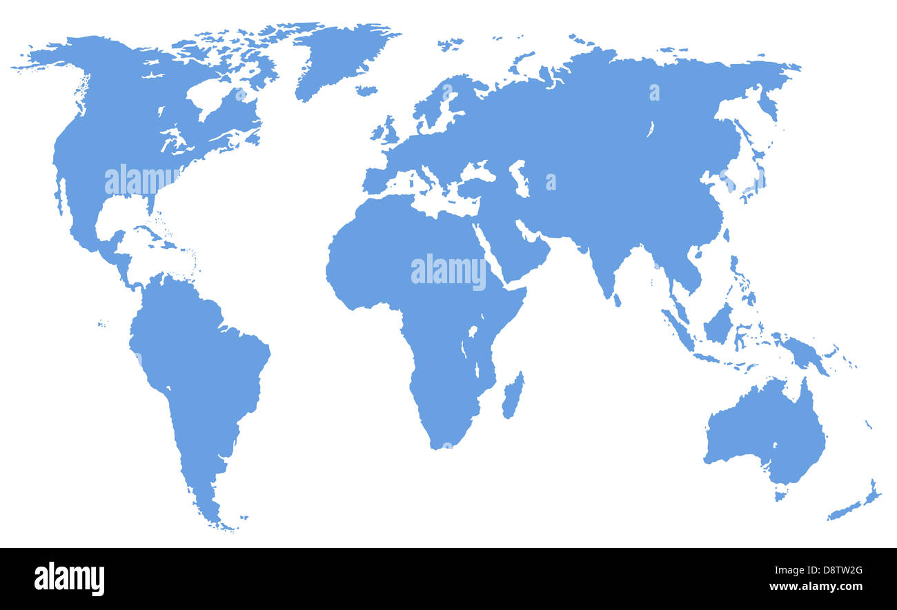 world map, isolated, clipping path - Stock Image