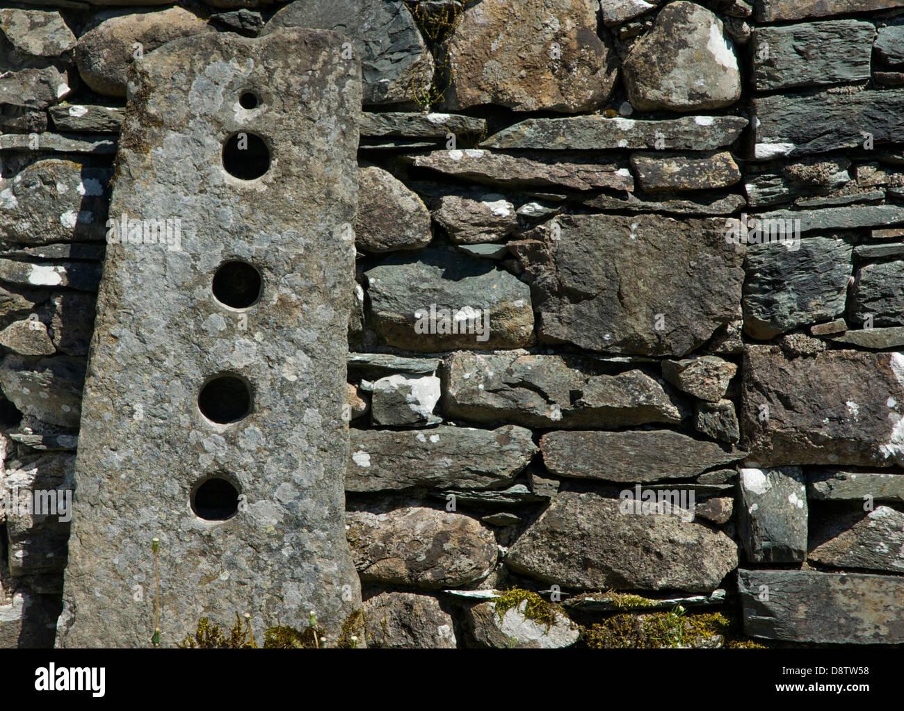Old-fashioned gatepost and dry stone wall, South Lakeland, Cumbria, England UK - Stock Image