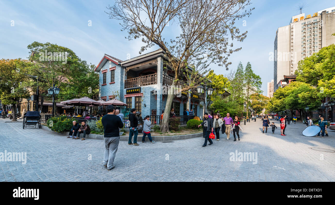 Shanghai, China - April 7, 2013: people walking in the pedestrian way of duolon road at the city of Shanghai in - Stock Image