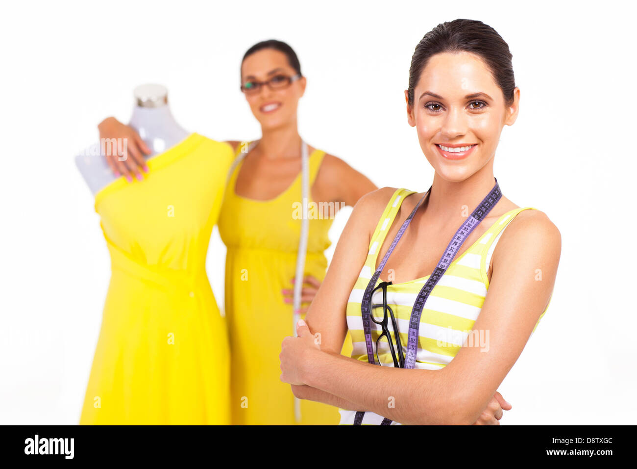 beautiful young female tailors portrait on white Stock Photo