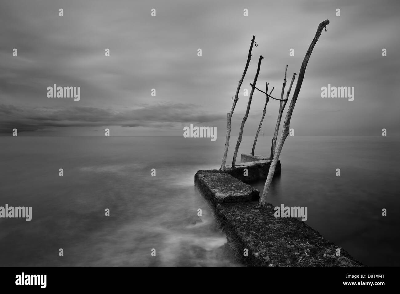 South wind approaching pier, Basania, Istria, Croatia - Stock Image
