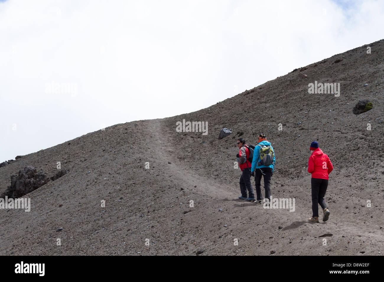 Ascent towards the Jose Ribas Refuge, Cotopaxi Volcano, Cotopaxi National Park, Cotopaxi, Ecuador - Stock Image
