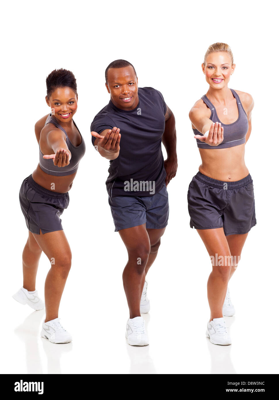 cheerful group fit people inviting to join exercise on white background - Stock Image