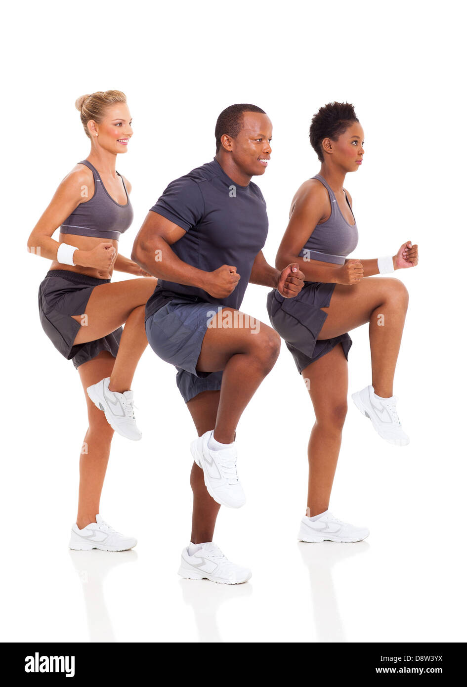 healthy group of people exercise on white background - Stock Image