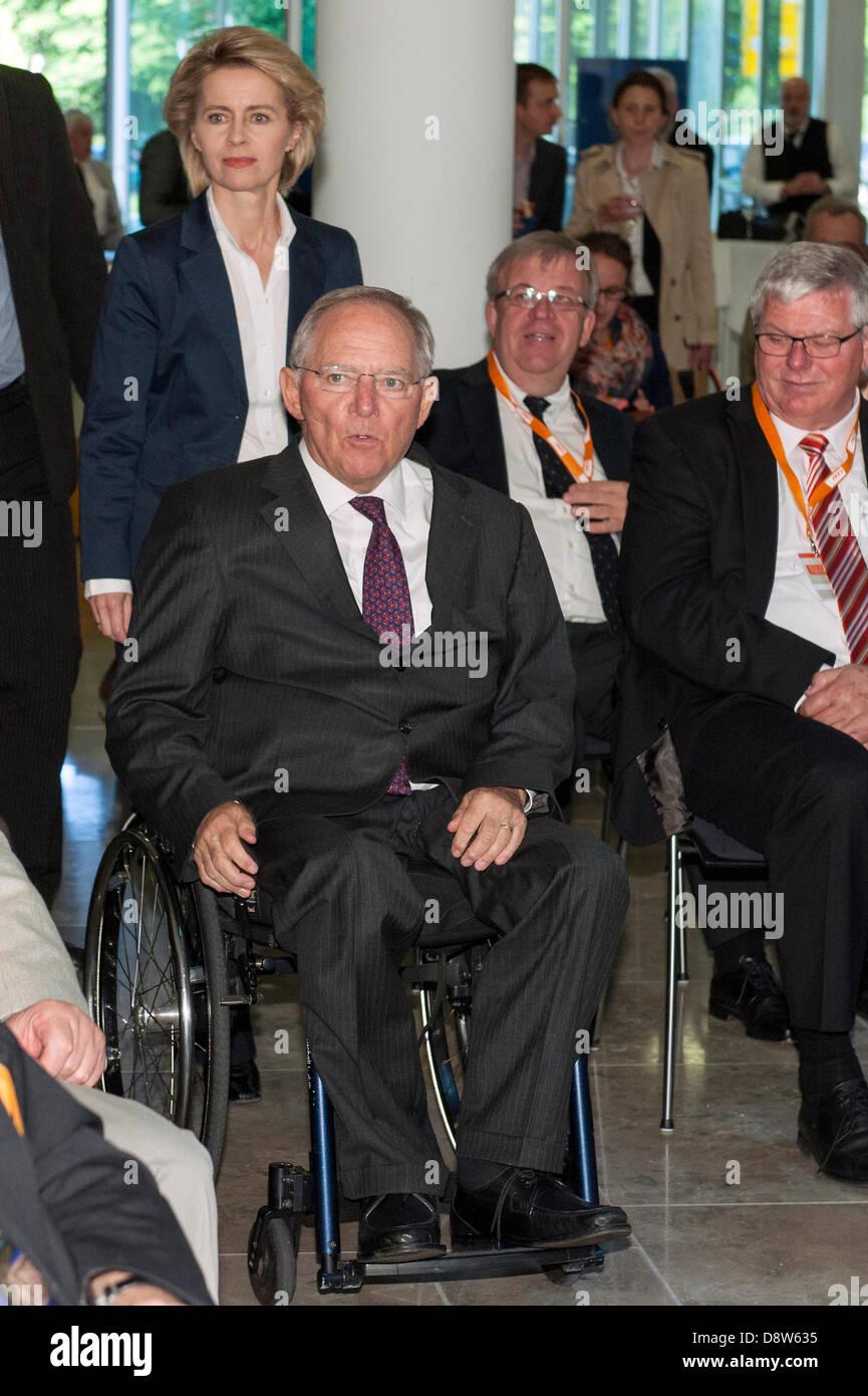 Berlin, Germany. June 4th 2013. CDU headquarter receives Ursula von der Leyen and Wolfgang Schäuble to present - Stock Image
