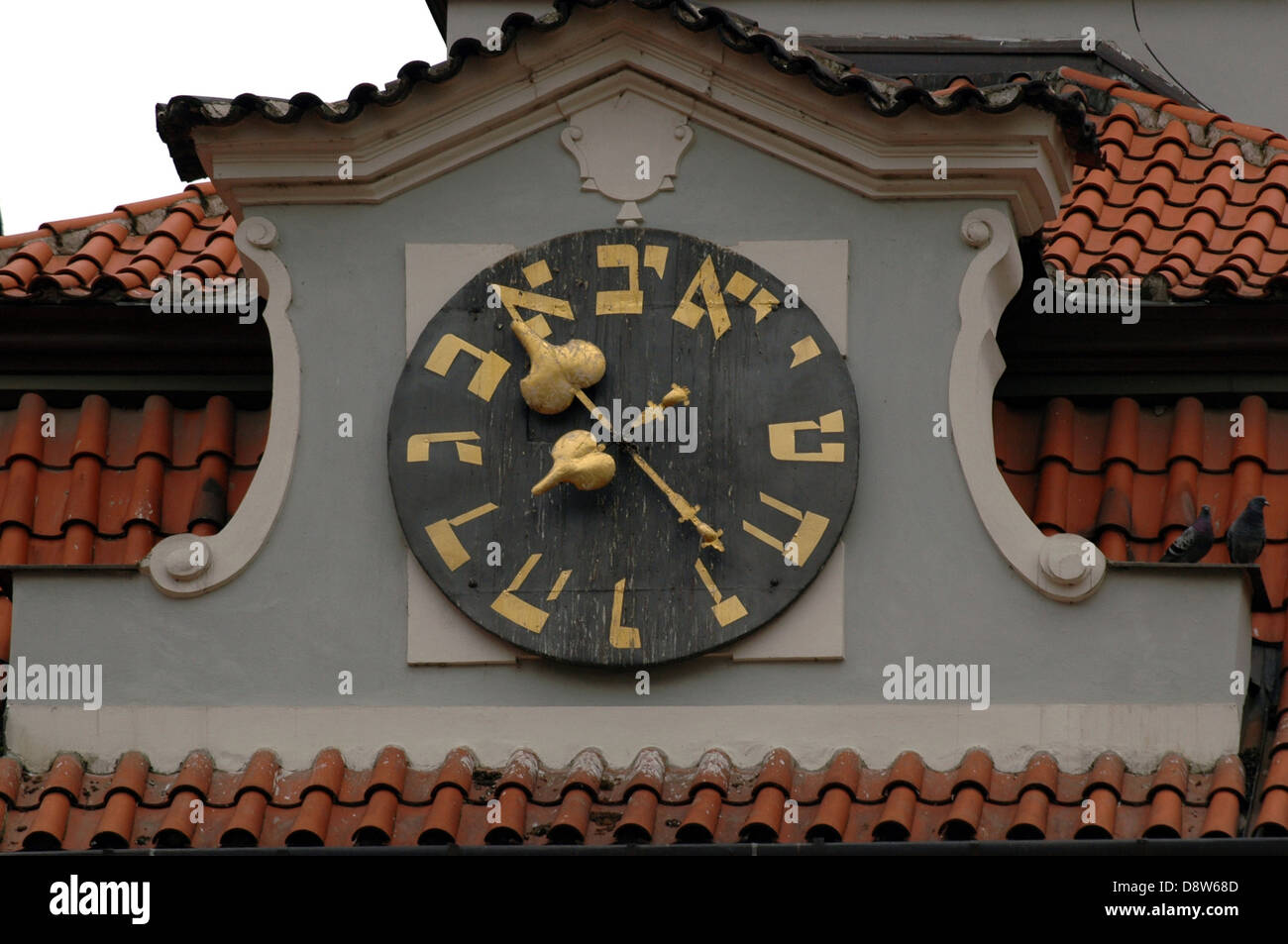 Hebrew numeral markings, which are the same as letters in the Hebrew alphabet at the clock tower of the Jewish town - Stock Image