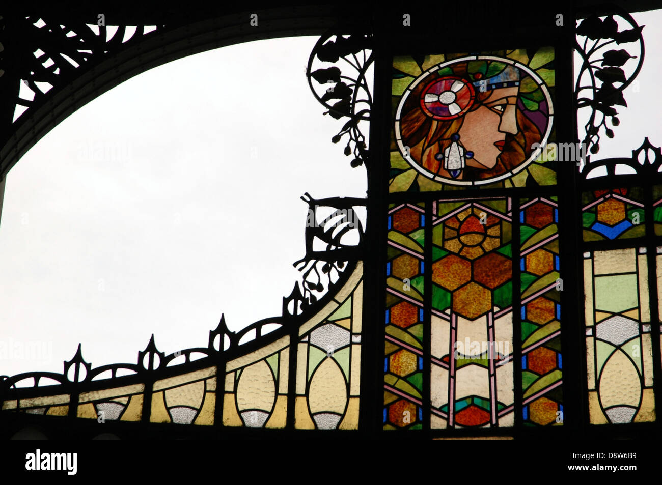 Art Nouveau stained glass decoration by Alfons also Alphonse Mucha at the main entrance to Obecni Dum Municipal Stock Photo