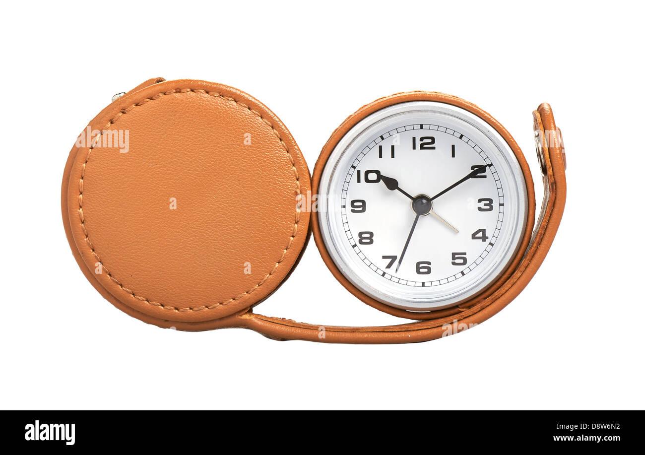 travel alarm clock isolated on white - Stock Image