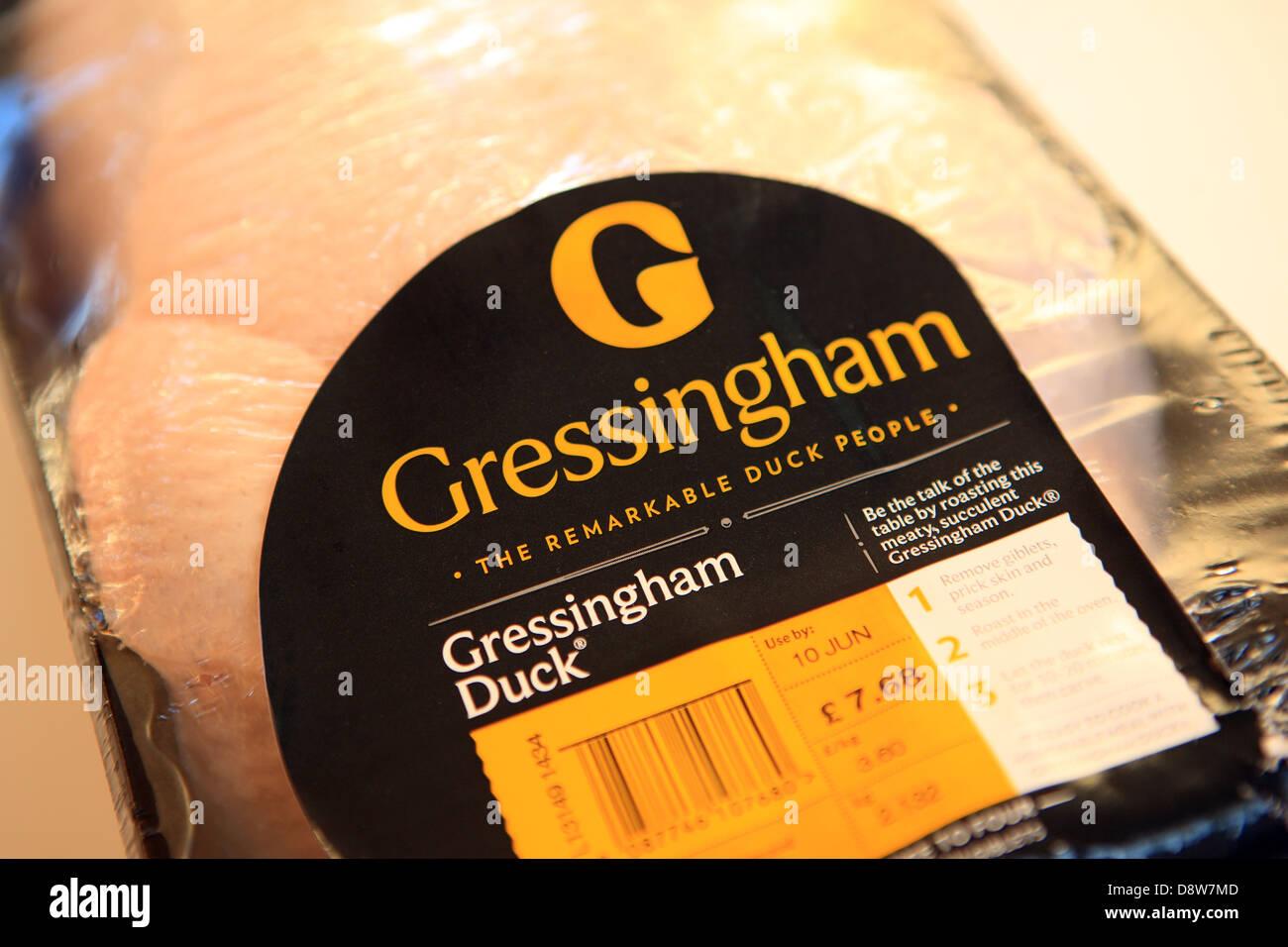 Gresshingham uncooked duck - Stock Image