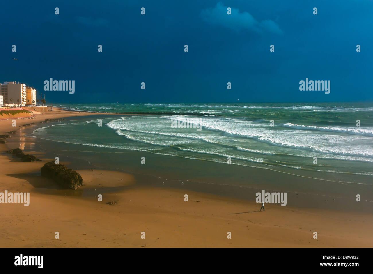 Santa Maria del Mar beach-stormy afternoon, Cadiz, Region of Andalusia, Spain, Europe - Stock Image
