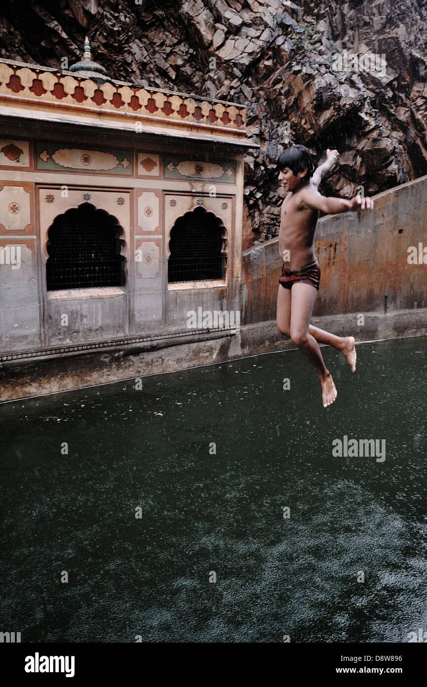 Galtaji is an ancient Hindu pilgrimage site in the town of Khaniya-Balaji Indian state of Rajasthan. India - Stock Image