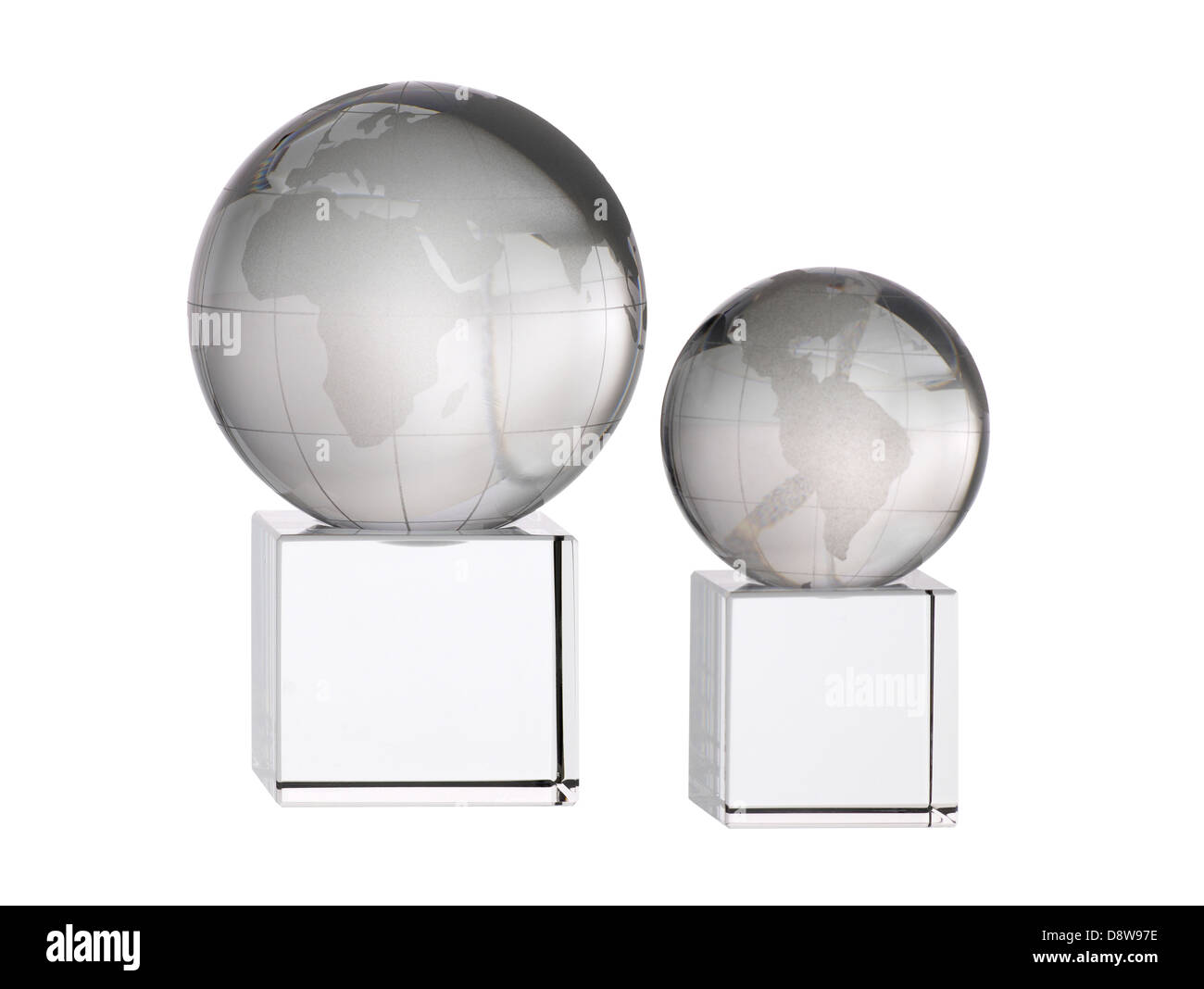 two glass globe awards trophies - Stock Image