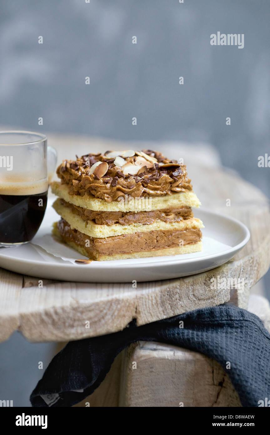 Portion of moka cake - Stock Image
