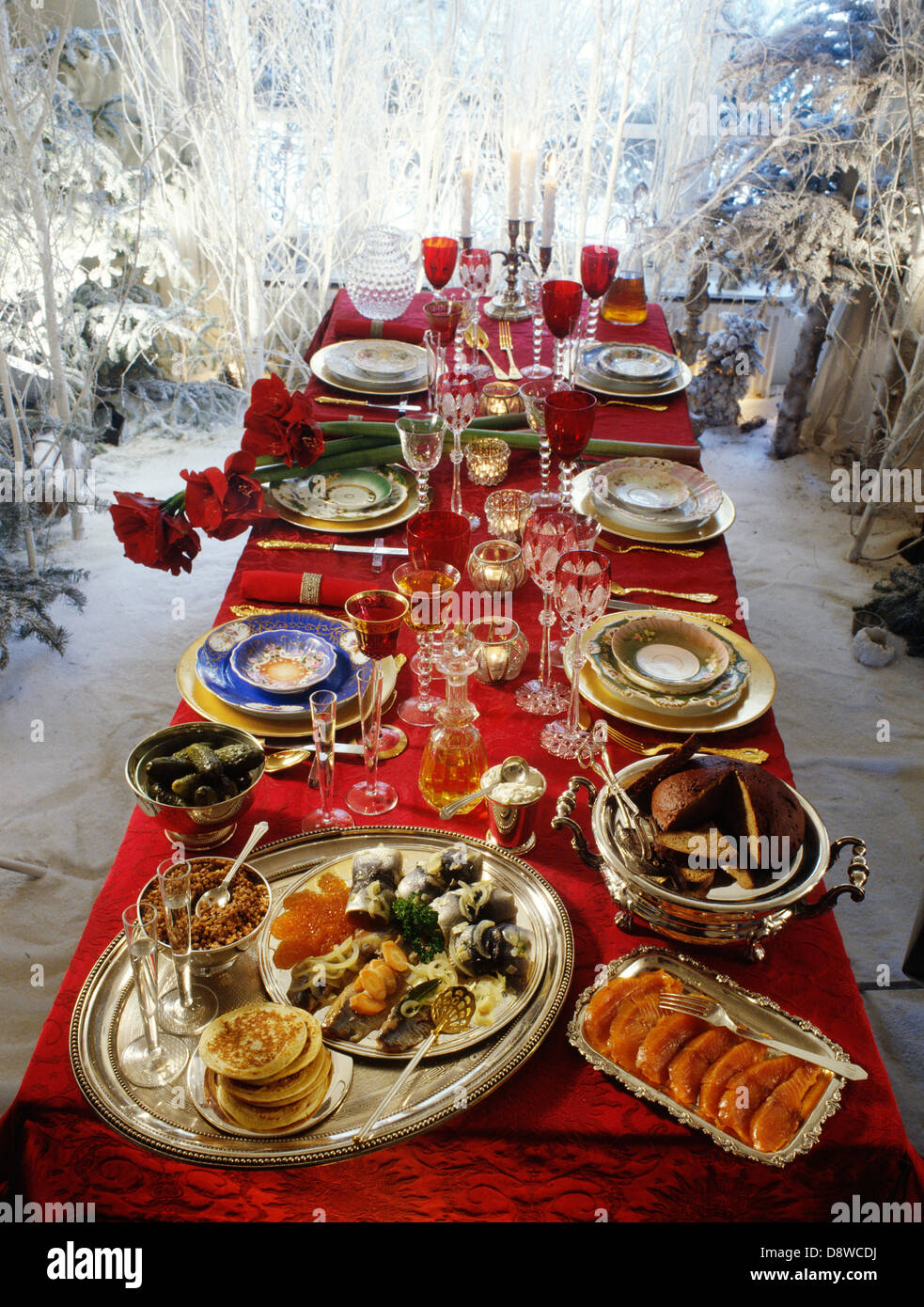 russian lunch christmas table stock image
