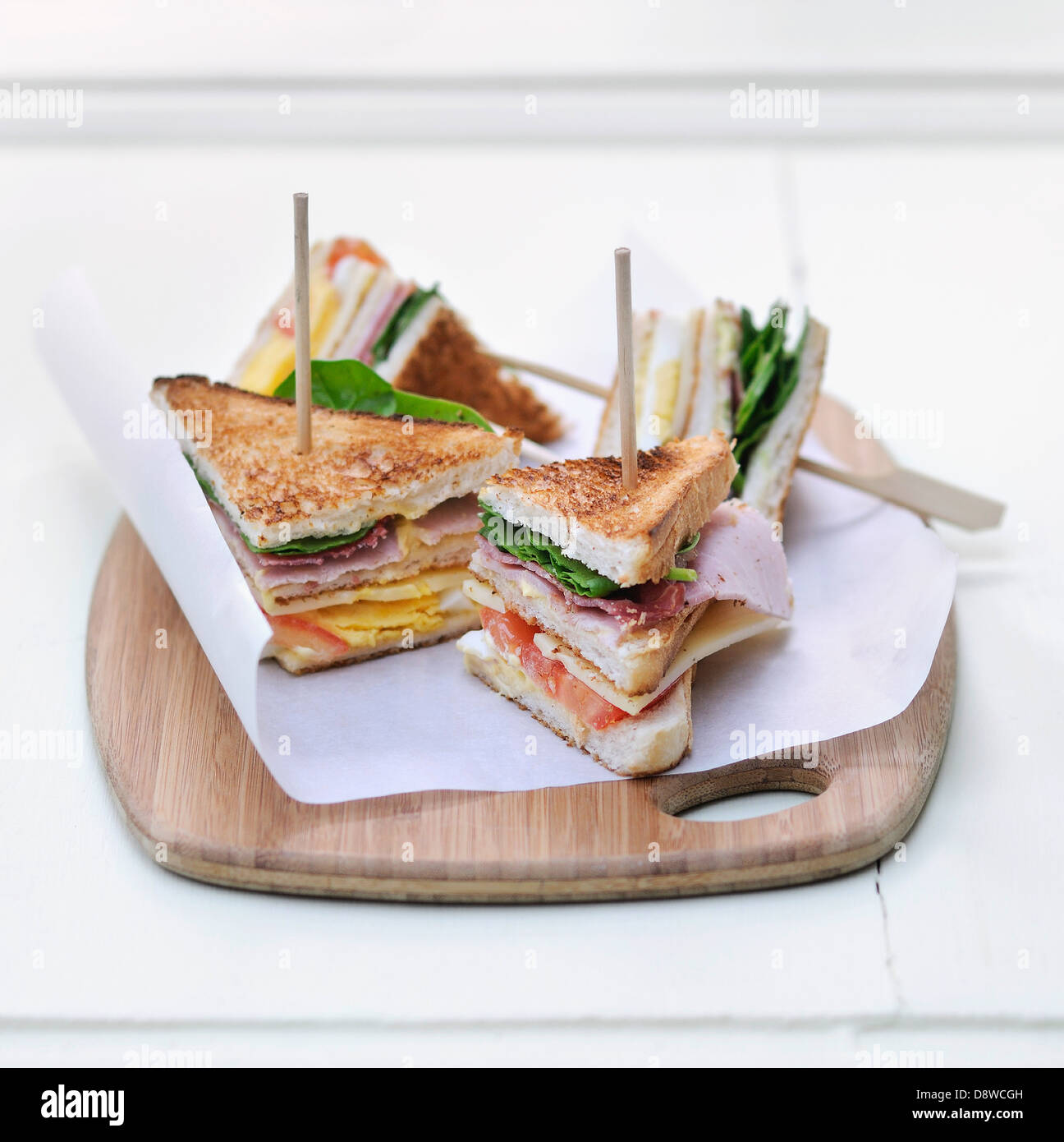 Ham and chese club sandwiches - Stock Image