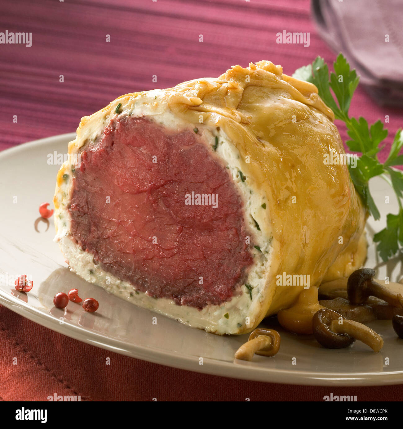Roast beef in a Tartare chese and pastry crust - Stock Image