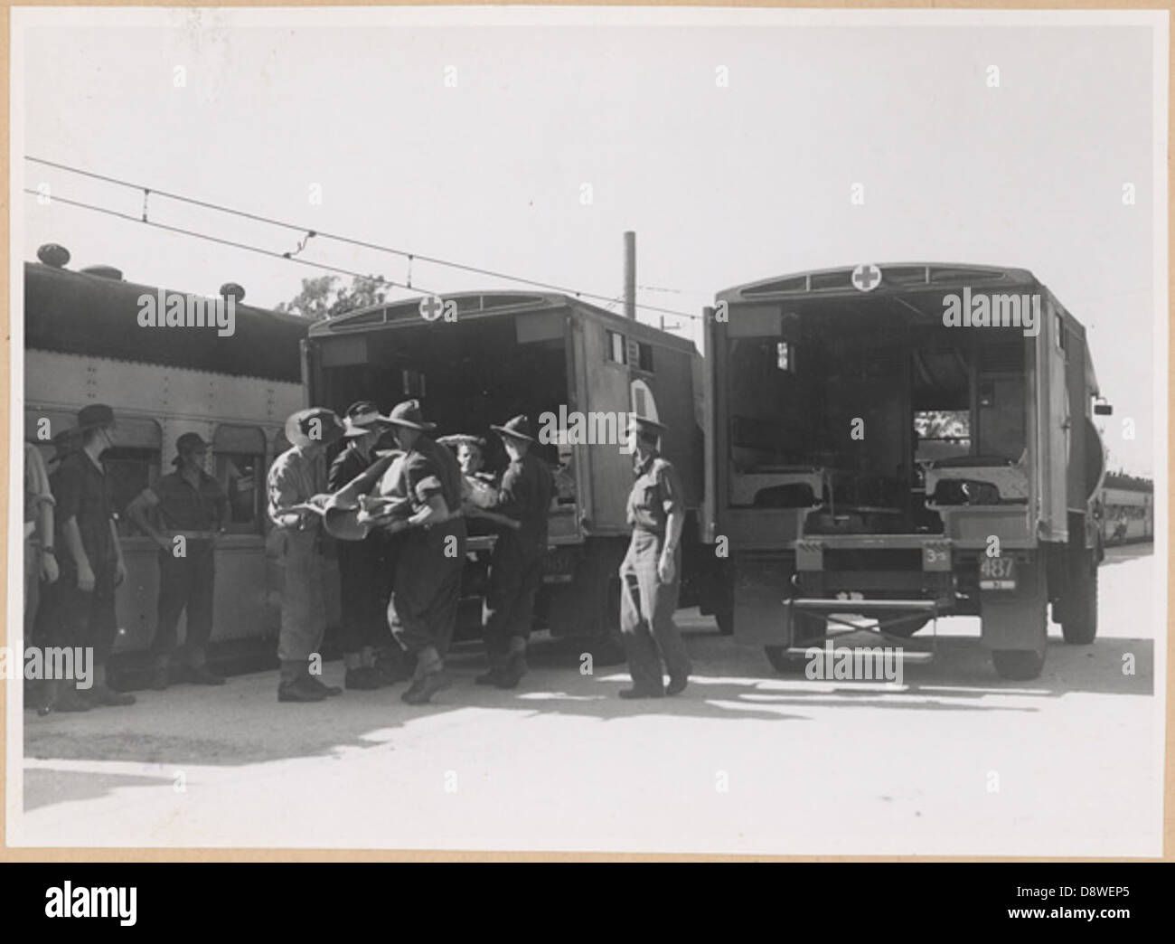 Transferring wounded from train to ambulance, Rosehill, NSW - Stock Image