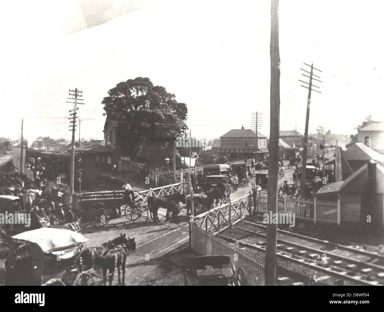Bustling railway crossing - Maitland - Stock Image