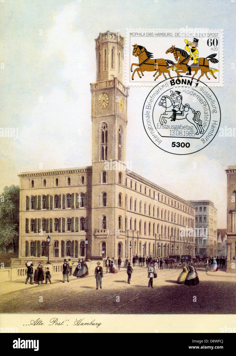 German maxicard (card maximum) and postage stamp - Alte Post, Hamburg - Stock Image