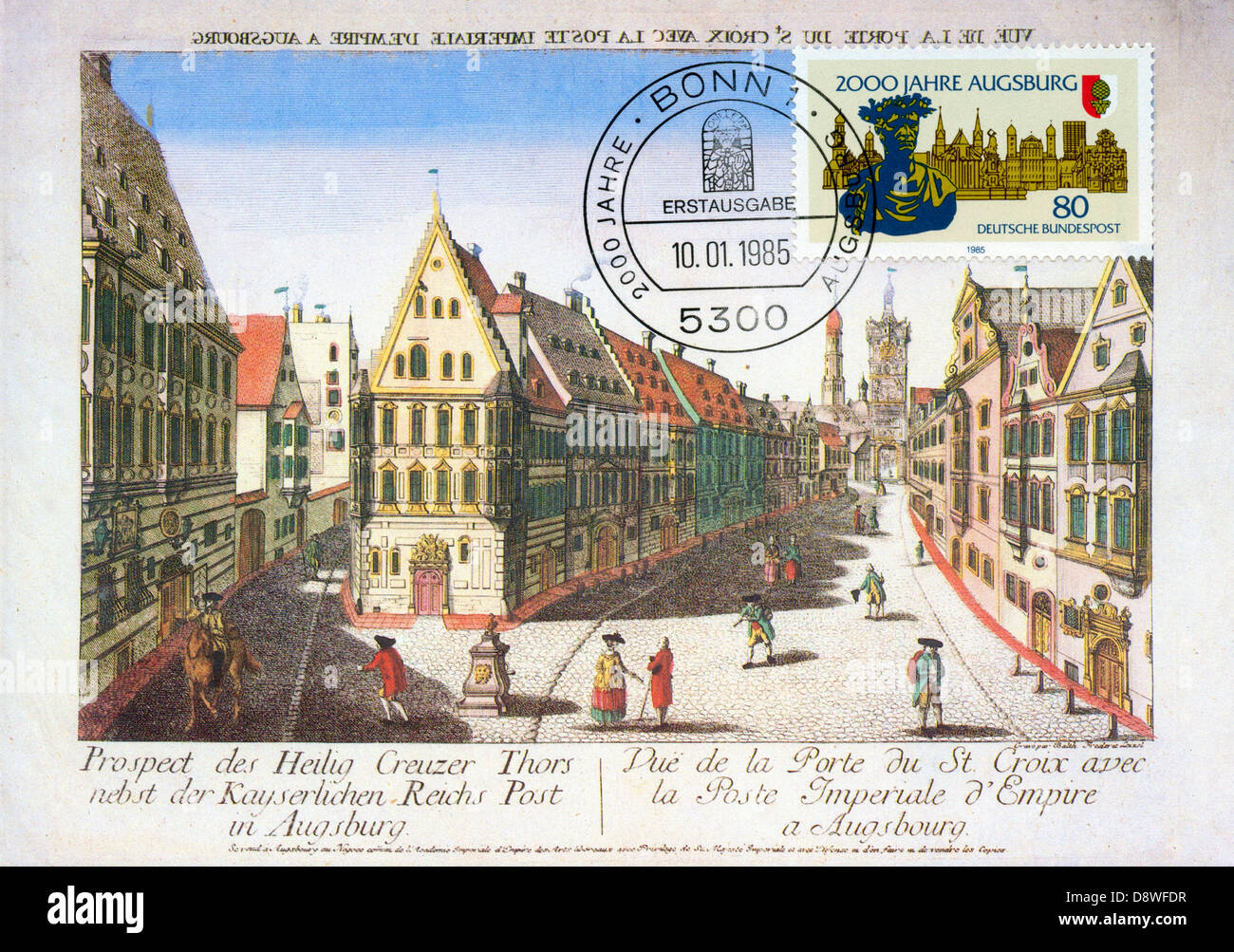 German maxicard (card maximum) and postage stamp - 2,000 years of Augsburg - Stock Image