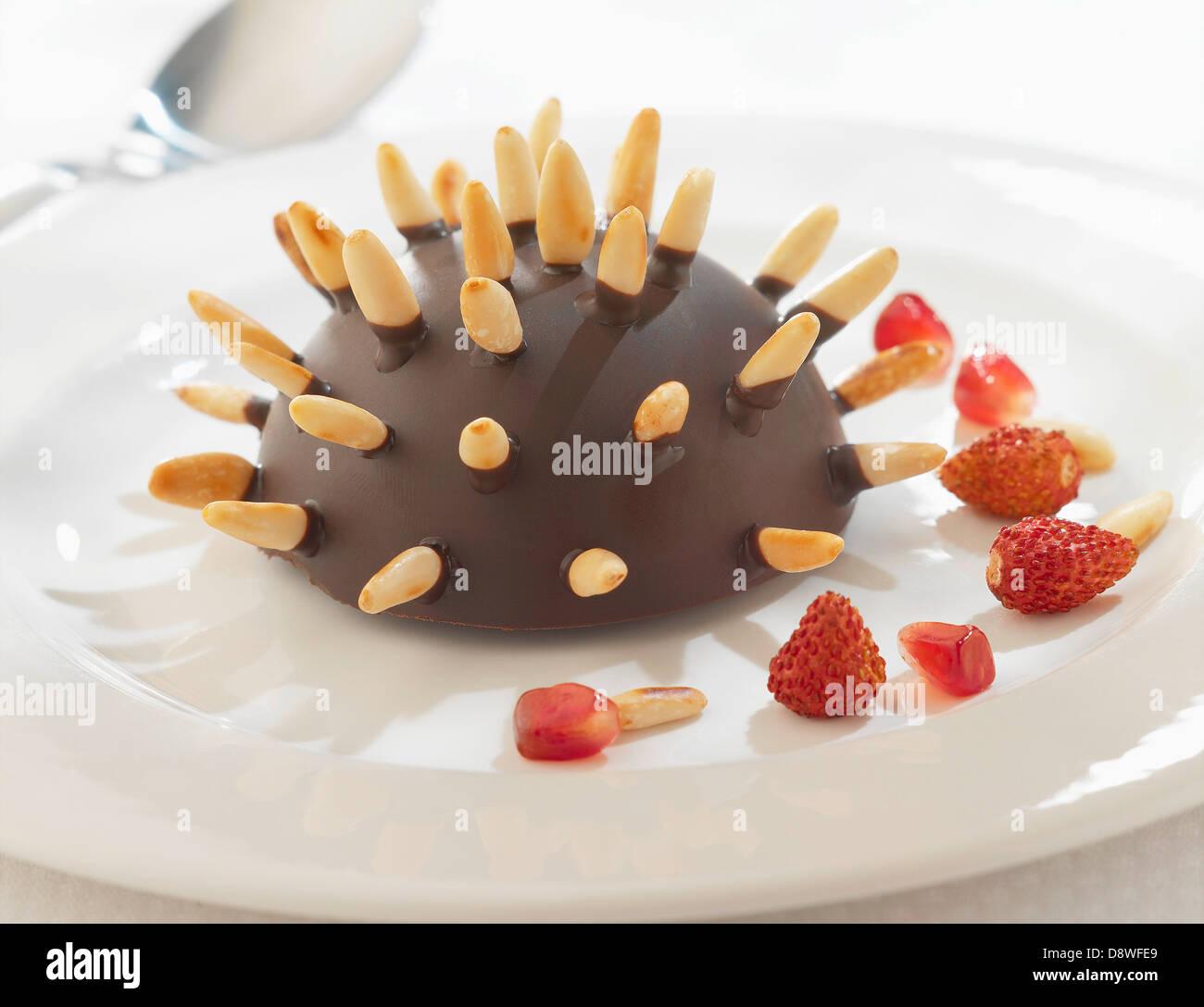 Hedgehog-shaped Mikado cake - Stock Image