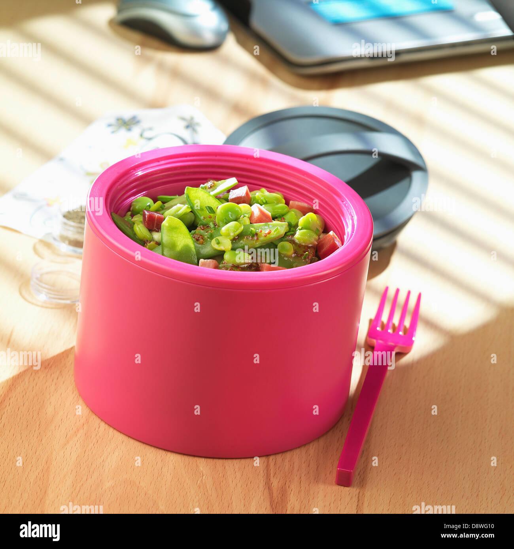 Lima bean,sugar pea and diced ham Bento salad - Stock Image
