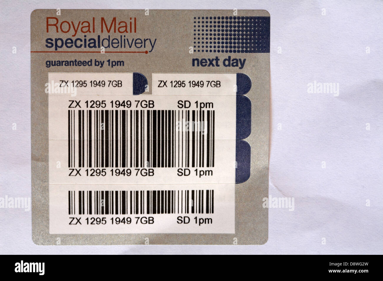 Royal Mail Special Delivery sticker on envelope - Stock Image