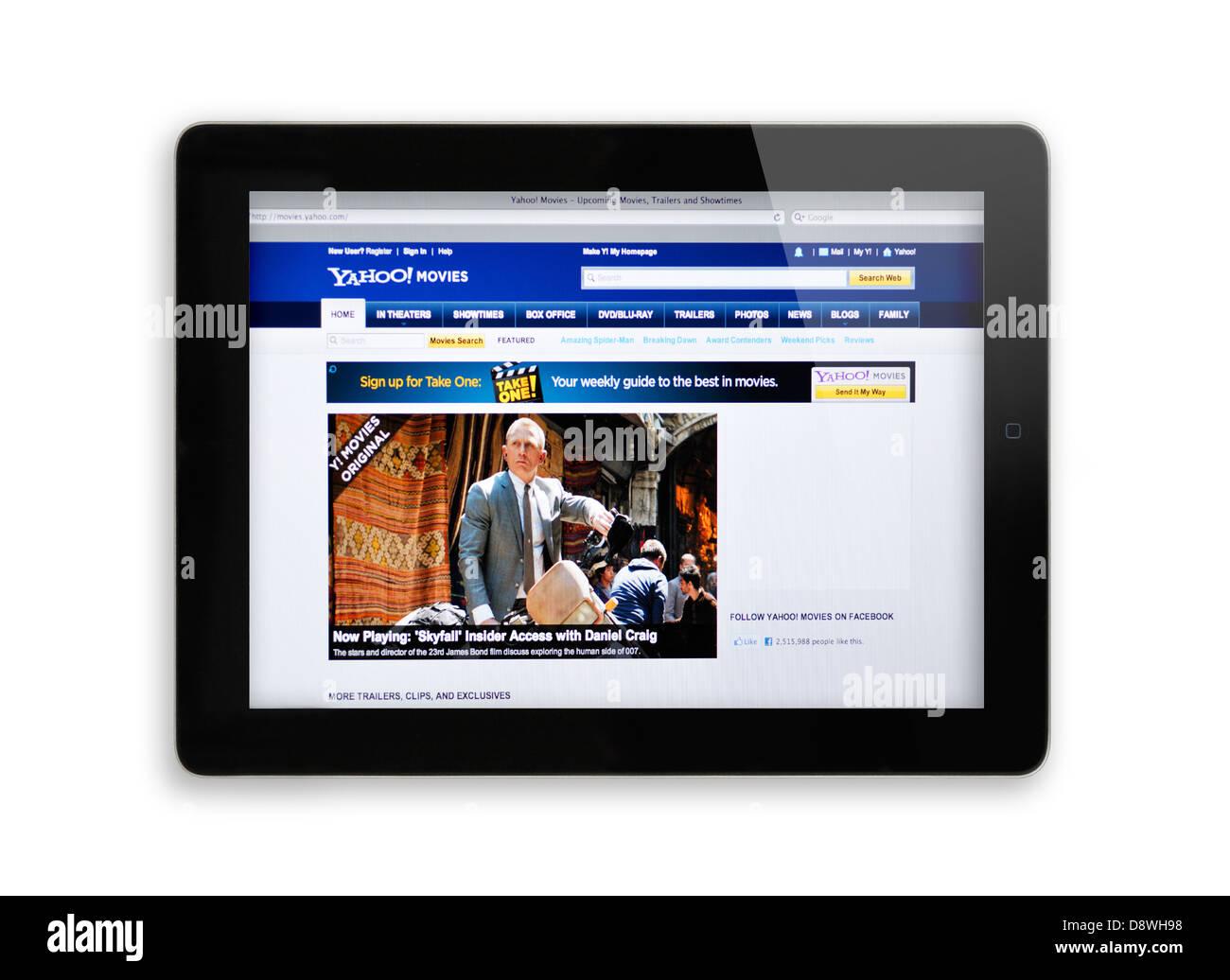 Yahoo movies website on iPad - Stock Image