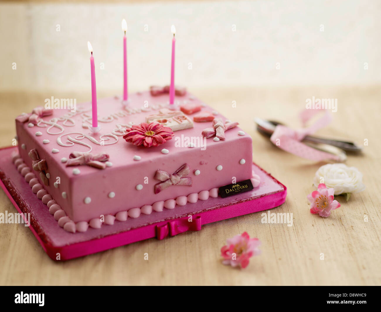 Birthday Cake With Almond Paste Decorations Dalloyau Creation Stock