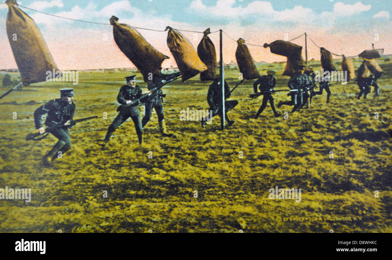 First World War color photograph of new army recruits in training - Stock Image