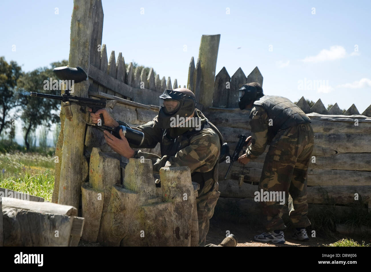 Paintball during bachelorette and bachelor parties in Madrid, Spain. - Stock Image