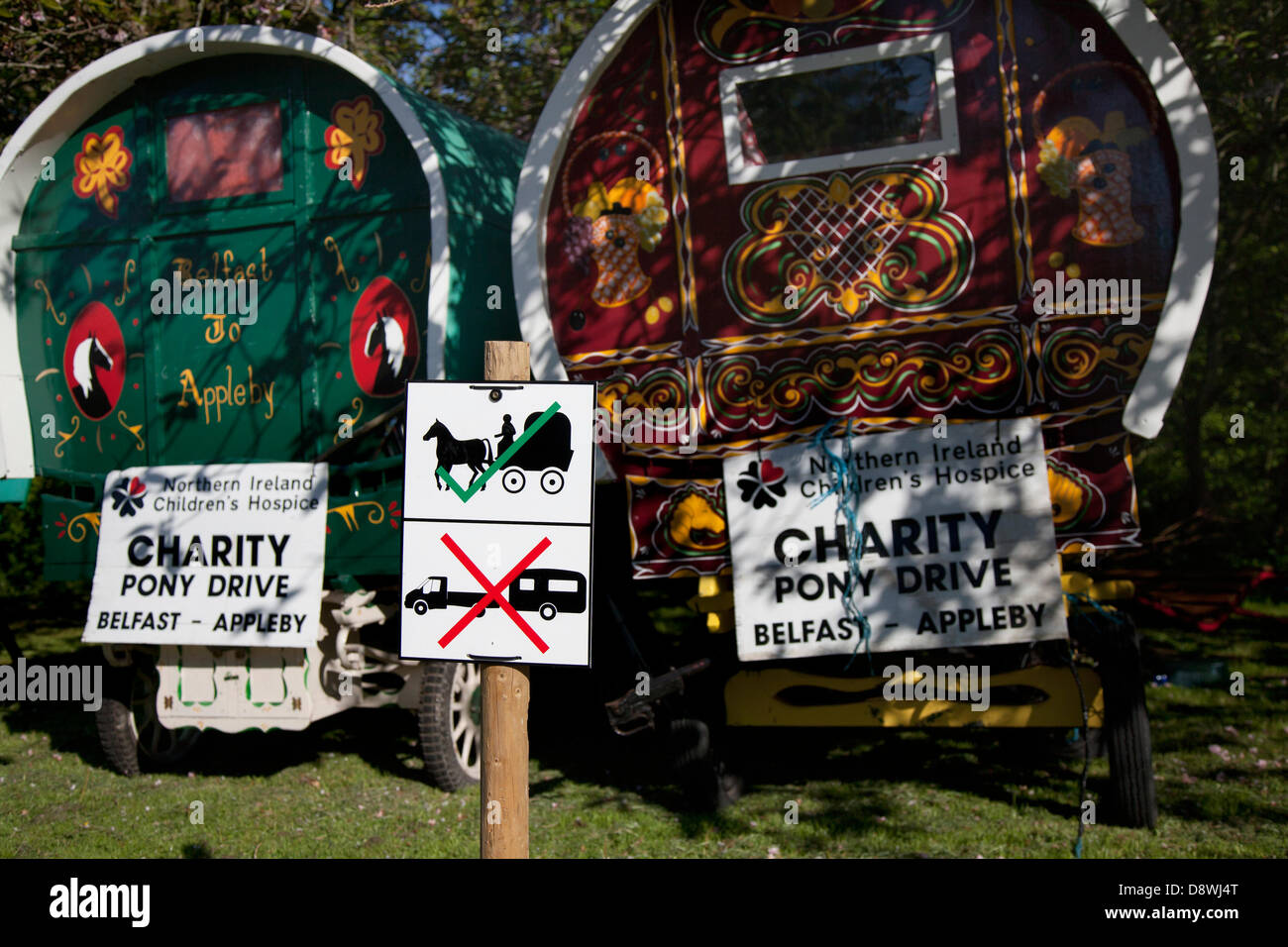 Charity Pony Drive, Northern Ireland Children's Hospice Bow top Trailer homes. Accommodation at Kirkby Stephen, - Stock Image