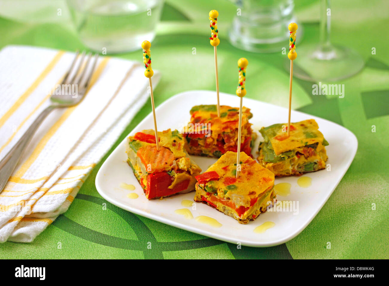 Vegetables omelet. Recipe available. - Stock Image