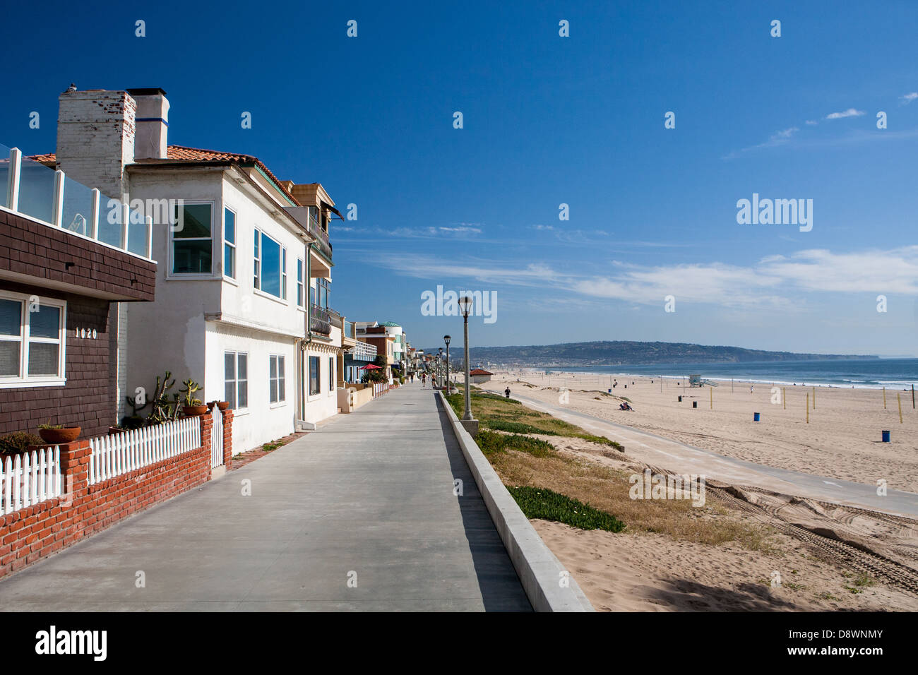 Properties on the waterfront in Manhattan Beach, Los Angeles, California, USA - Stock Image