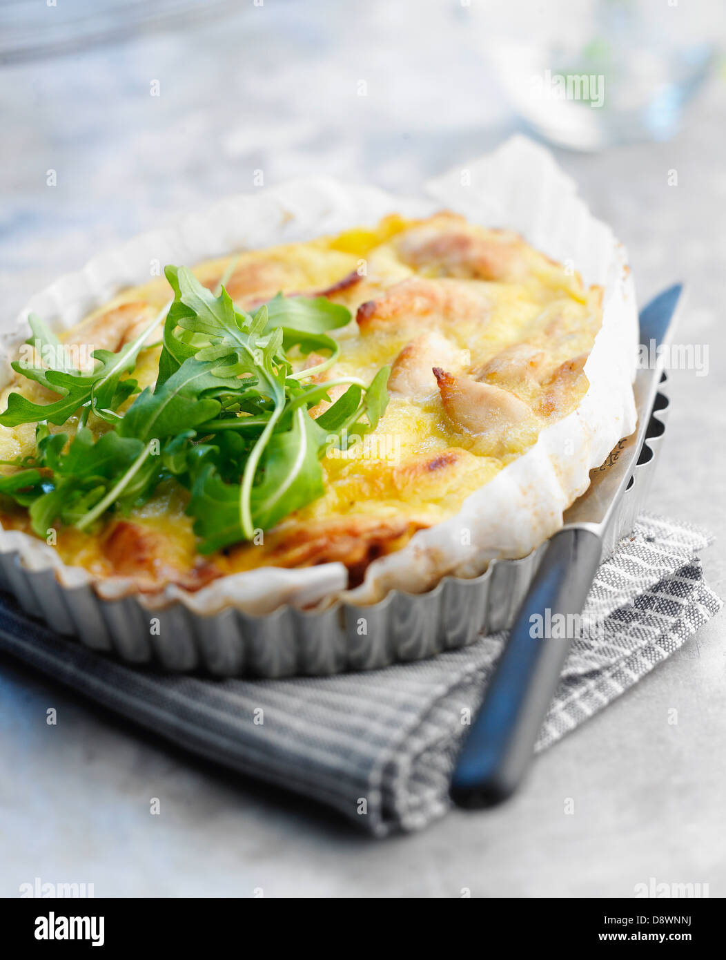 Chicken and Fromage frais quiche - Stock Image