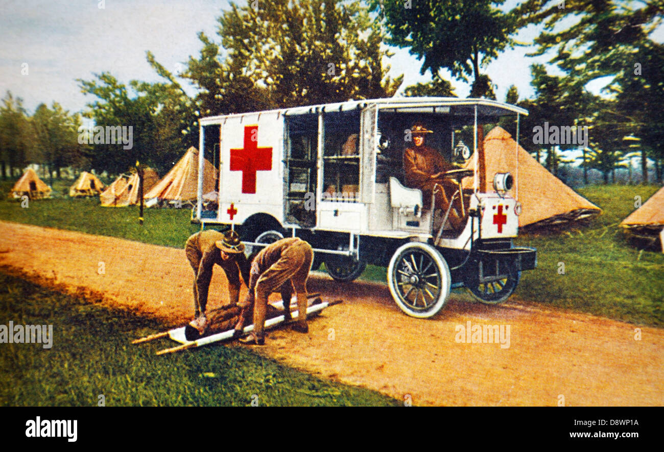 Color photograph of United States Army field hospital during World War I - Stock Image