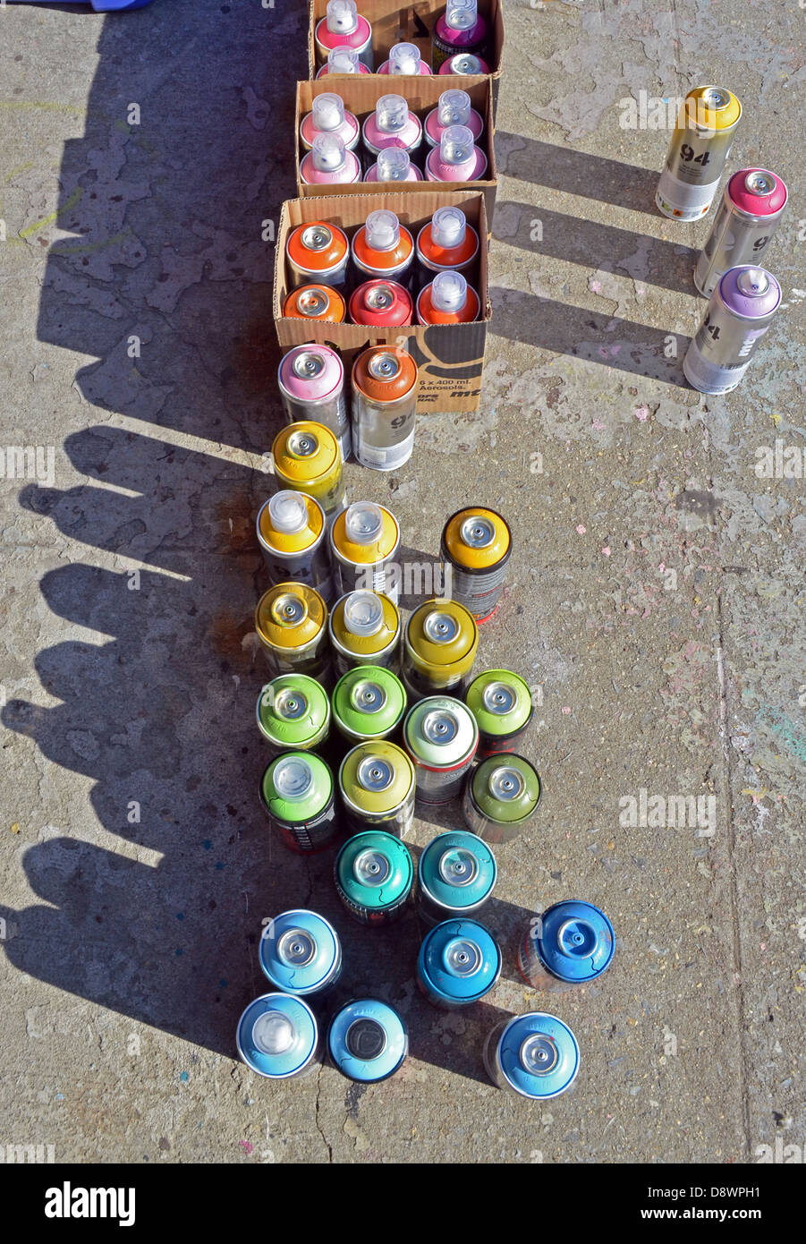A graffiti writer's aerosol spray paint cans at 5 Pointz in Long Island City, Queens, New York Stock Photo
