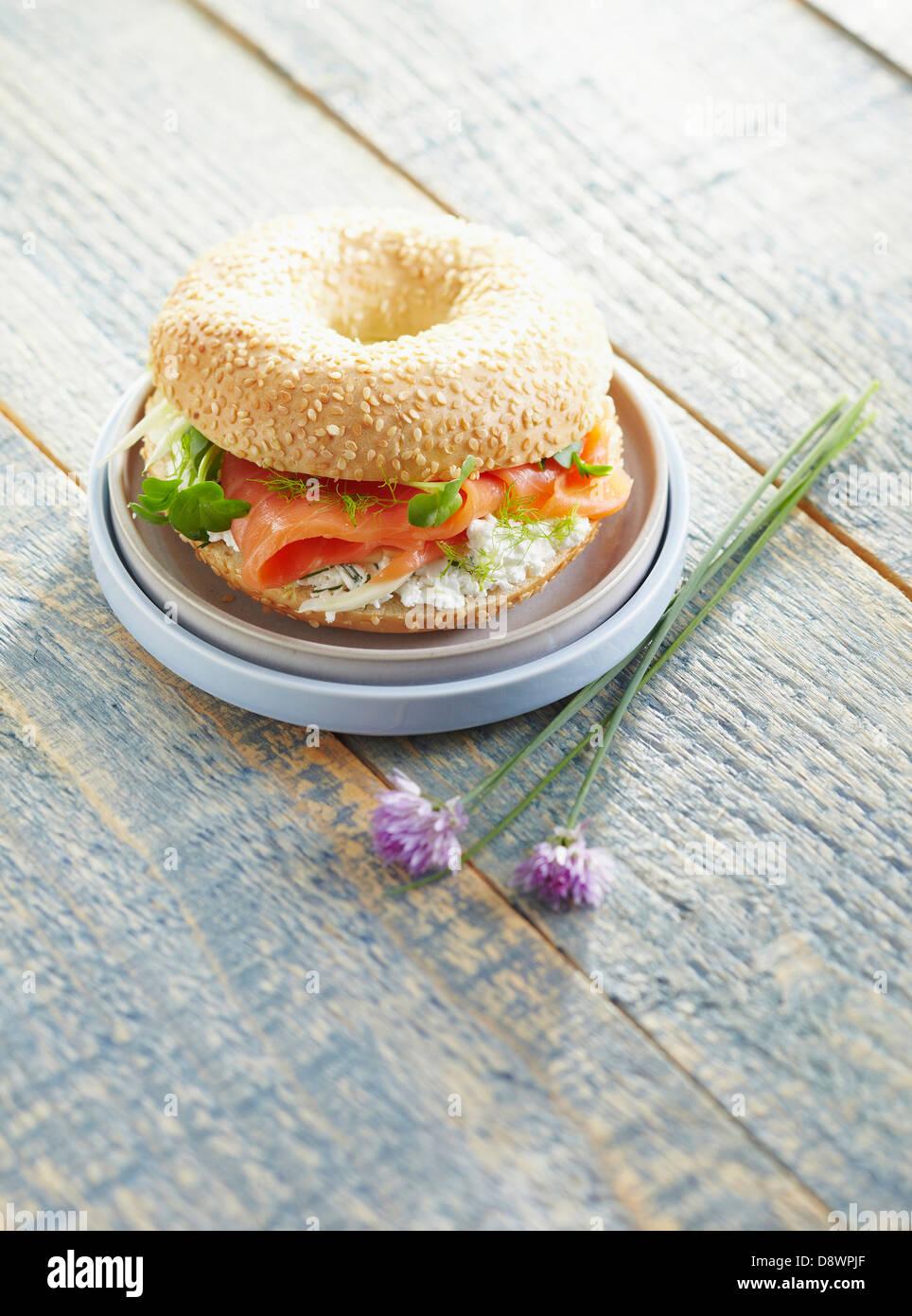 Smoked salmon and cream cheese bagel sandwich Stock Photo