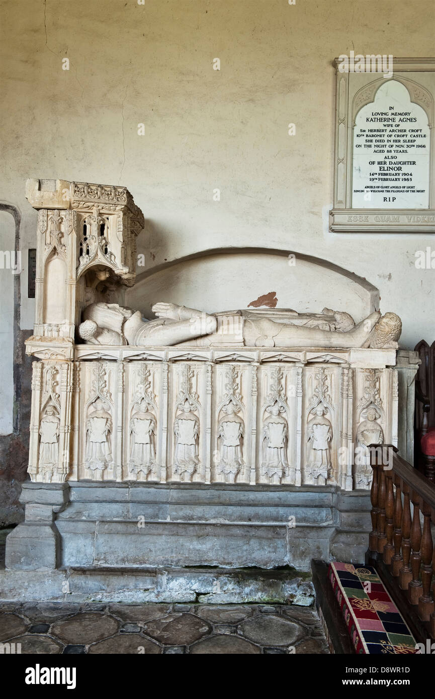 The 16c tomb of Sir Richard Croft and his wife Eleanor in the church of St Michael and All Angels at Croft Castle, - Stock Image
